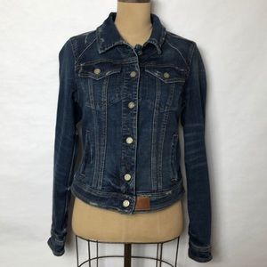 Anthropologie stretch jean jacket /leather accents